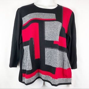 Alfred Dunner Red Black Print Sweater Size 2X
